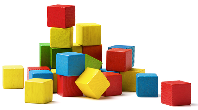 toy blocks pyramid, multicolor wooden bricks stack isolated whit